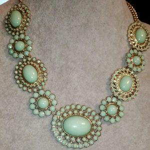 Gold, Faux Green Turquoise Statement Necklace